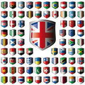 Shiny shield flags with metal frame collection Royalty Free Stock Image