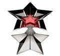 Shiny silver star with red star core Royalty Free Stock Photography