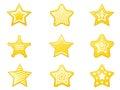 Shiny star icons set Royalty Free Stock Photo
