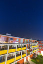 Shiny stars over apartment building blue sky with in poland Stock Images
