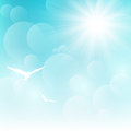 Shiny sun on blue sky Royalty Free Stock Photo