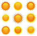 Shiny Suns Set Stock Photography