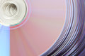 Shiny violet CD DVD tower Royalty Free Stock Photography