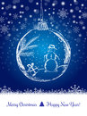 Shiny Xmas ball with snowman for Merry Christmas celebration on dark blue background with snowflakes. Hand drawn. Royalty Free Stock Photo