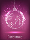 Shiny Xmas ball with snowman for Merry Christmas and Happy New Year celebration Royalty Free Stock Photo