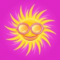 Shiny yellow sun with smile and wearing glasses on purple bacground Stock Images