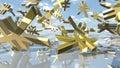 Shiny yen money signs falling down. 3D rendering Royalty Free Stock Photo