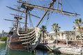 Ship in alicante marina beautiful replica of the santisima trinidad the harbor of Stock Photography