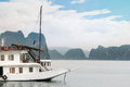 Ship in beautiful halong bay vietnam asia nature picturesque scene with blue sky ripple on water and mountains houseboat idea of Stock Photo