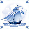 Ship on the Blue Dutch tile 5, cutter Royalty Free Stock Photo