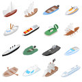 Ship and boat icons set, isometric 3d style