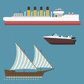 Ship boat sea symbol vessel travel industry vector sailboats cruise set of marine icon