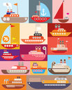 Ship and boat vector illustration maritime vessel Royalty Free Stock Photo