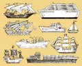 Ship boat vessel sailboat cruise liner or passenger steamship and powerful speedboat or motorboat submarine and yacht