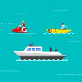 Ship and boats vector.