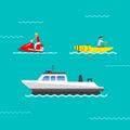 Ship and boats vector.