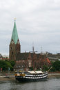 Ship in bremen germany on the weser river Stock Images