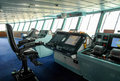 Ship bridge modern captains chair and Stock Photo