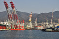 Ship building wharf in kure japan ships and cranes the japanese harbour of Stock Photos
