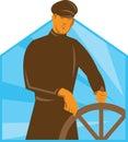 Ship Captain Helmsman Steering Wheel Retro Royalty Free Stock Photo