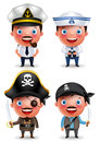 Ship captain, seafarer and pirates vector character set with uniform Royalty Free Stock Photo