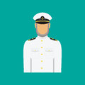 Ship captain in uniform in flat style. Vector illustration.