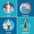 Ship Crew 4 Icons Square Royalty Free Stock Photo