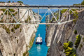 Ship cross The Corinth Canal Royalty Free Stock Photo