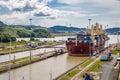 Ship crossing Panama Canal at Miraflores Locks - Panama City, Panama Royalty Free Stock Photo