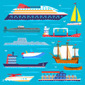 Ship cruiser boat sea transport symbol vessel travel vector sailboats cruise set of marine