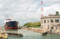 Ship Departing Canal Lock In W...