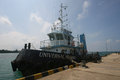 Ship the docked in the port of jepara central java indonesia Royalty Free Stock Photography