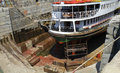Ship in dry dock under construction Royalty Free Stock Photography