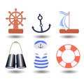 Ship elements on a white background