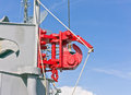 Ship equipment the and communications tower modern warship Royalty Free Stock Photography
