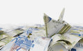 Ship from euro paper in the money sea concept composition photo Royalty Free Stock Photo