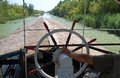 Ship flies the old canal tourist boat sailing riverbed of bega bega is a habitat for many species of aquatic birds plants fish and Stock Images