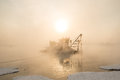 Ship in the fog Royalty Free Stock Photo