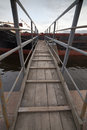 Ship gangway pedestrian to the shot wide angle Royalty Free Stock Photography