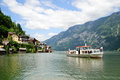 Ship on the Hallstatt Lake Stock Images
