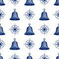Ship helm seamless pattern marine boat wheel. Royalty Free Stock Photo