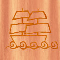 Ship Icon made with wood
