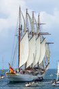 Ship juan sebastian de elcano cadiz spain apr spanish navy training setting sail on the rd cruise of instruction with midshipmen Stock Image