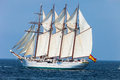 Ship juan sebastian de elcano cadiz spain apr spanish navy training setting sail on the rd cruise of instruction with midshipmen Royalty Free Stock Image