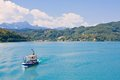Ship lake worthersee austria on worth Stock Photo