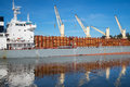 Ship loaded with timber cargo port of astoria oregon Royalty Free Stock Images