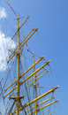 Ship mast with blue sky and clouds Royalty Free Stock Image