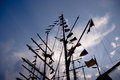 Ship mast with signal flags masts of tall decorative Royalty Free Stock Photo