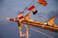Ship mast with signal flags masts of tall decorative Stock Images