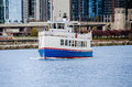 Ship by the navy pier cruise sailing along side in chicago illinois Royalty Free Stock Photography
